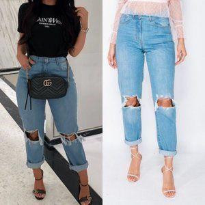 High Waist Ripped Distressed Cuff Boyfriend Jeans